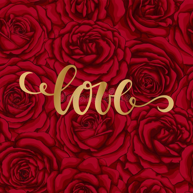 Miłość Ręka rysujący szczotkarski pióra literowanie na tło kwiatu czerwieni róży projektuje wakacyjnego kartka z pozdrowieniami i ilustracji