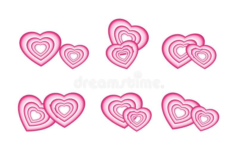 Miłość, romans, valentine i poślubiać pojęcia, Set par menchii serca odizolowywający na białym przejrzystym tle ilustracji