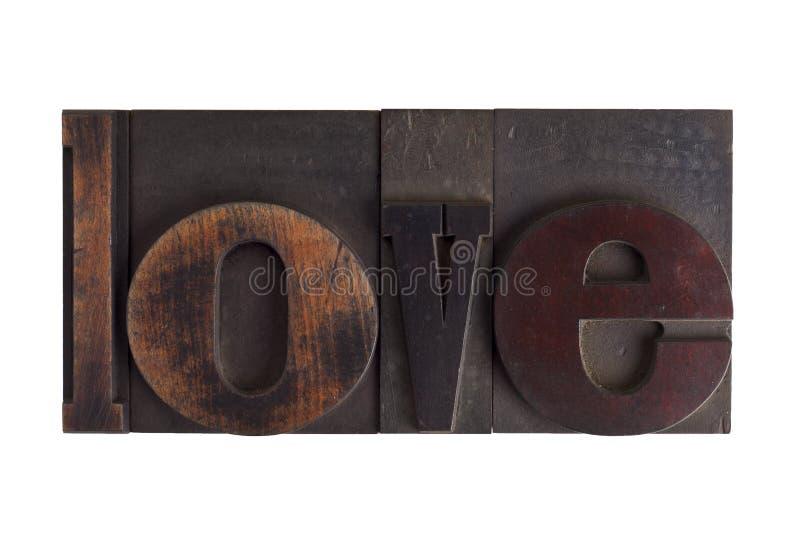 Miłość, słowo pisać w letterpress typ blok fotografia royalty free