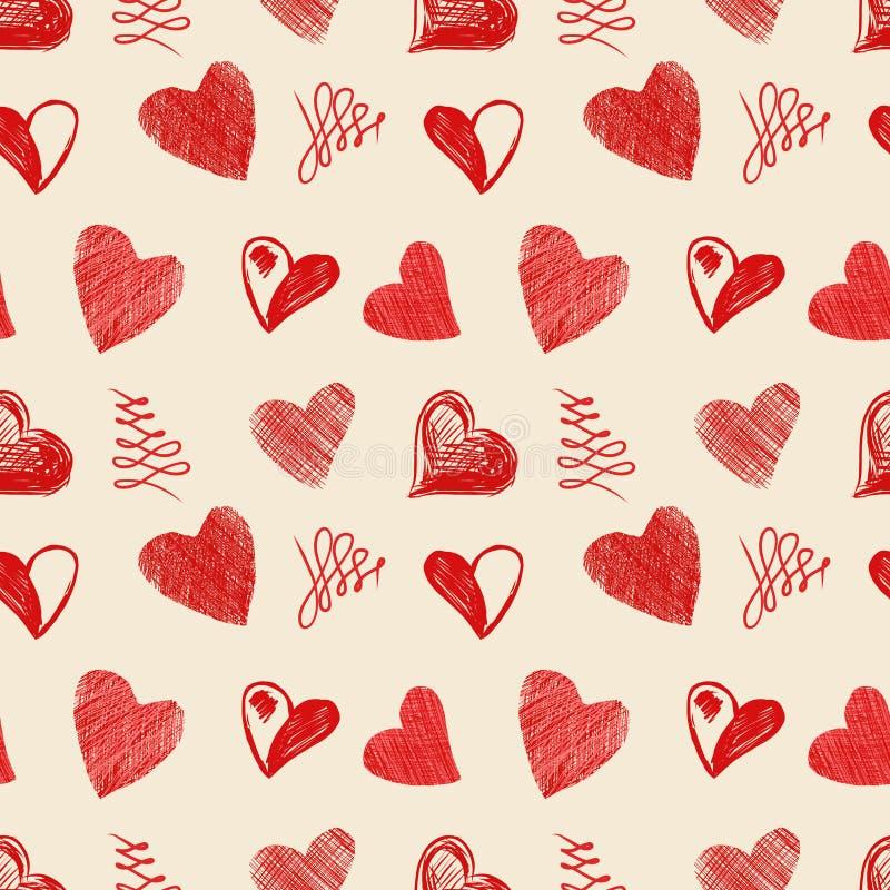 Miłość serc nakreślenia ręka rysująca ilustracja wektor