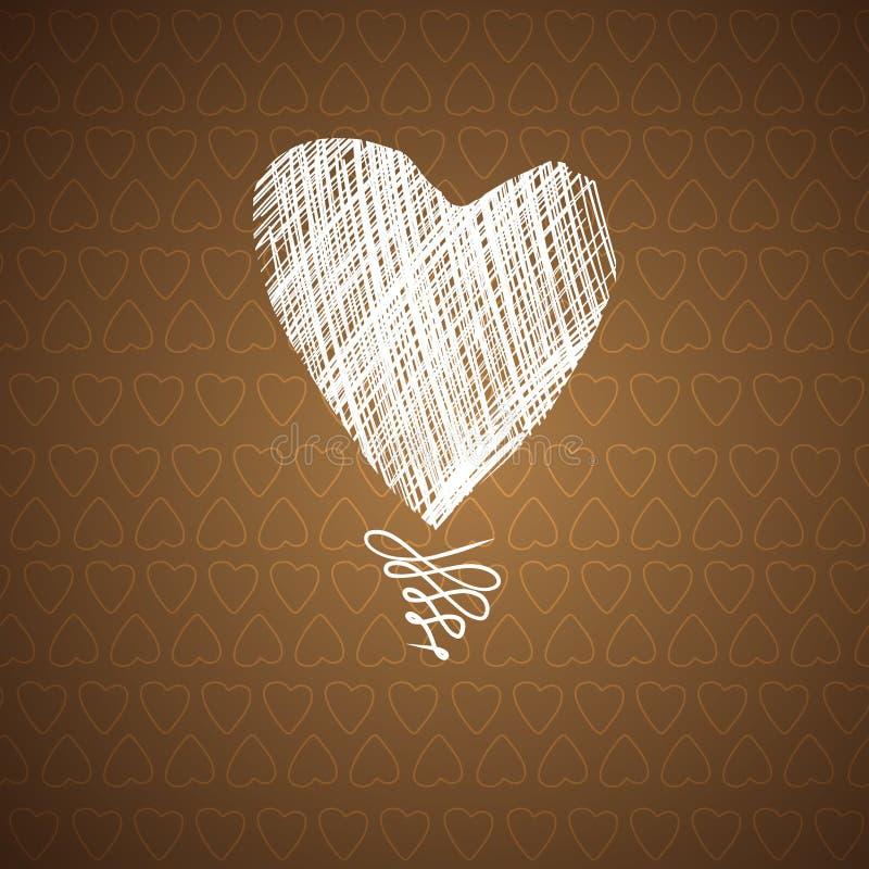 Miłość serc nakreślenia ręka rysująca karta royalty ilustracja