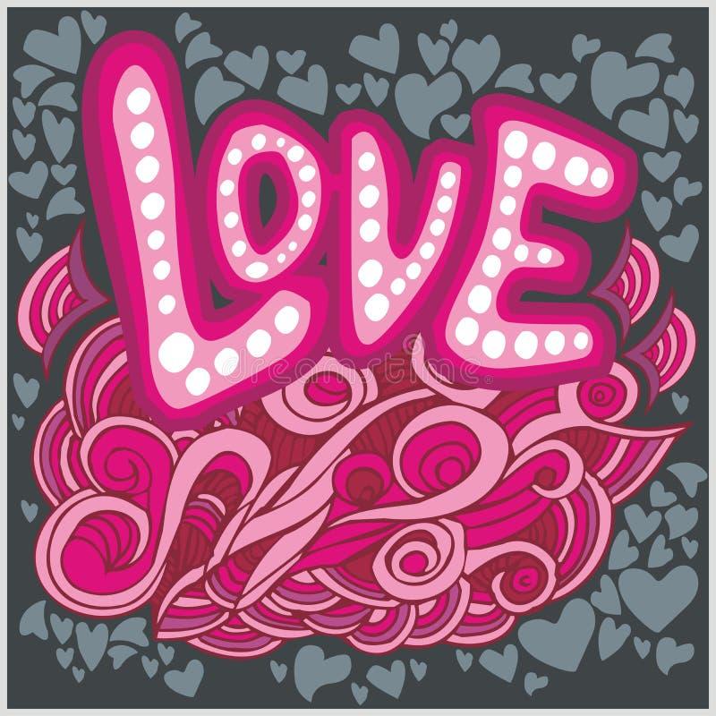 Miłość serc ręki literowanie i doodles elementy ilustracja wektor
