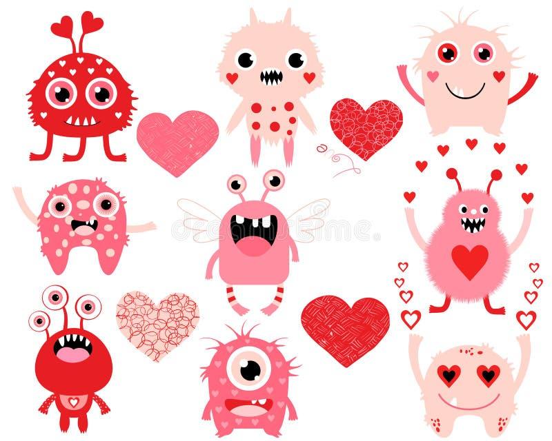 Miłość set śliczni walentynka dnia potwory royalty ilustracja