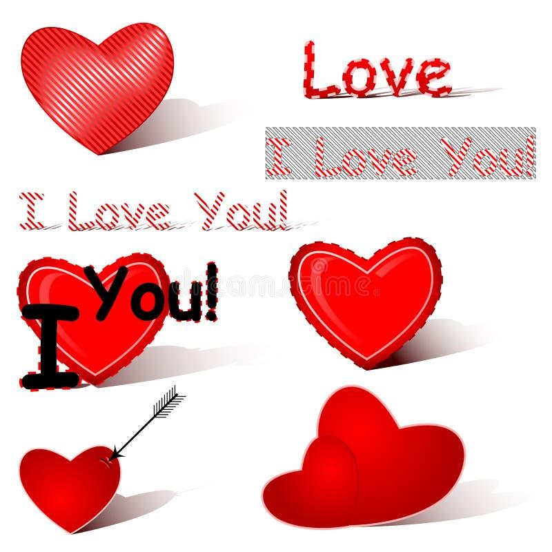miłość set ilustracji