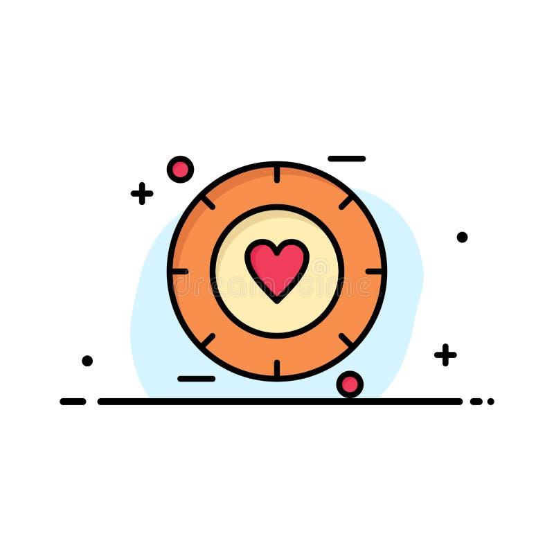 Miłość, sygnał, walentynka, Ślubna Biznesowa linia Wypełniający mieszkanie ikony sztandaru Wektorowy szablon royalty ilustracja