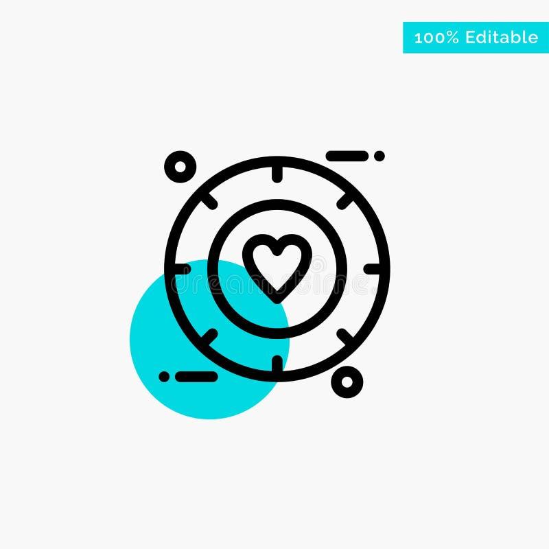 Miłość, sygnał, walentynka, Ślubna turkusowa główna atrakcja okręgu punktu wektoru ikona ilustracji