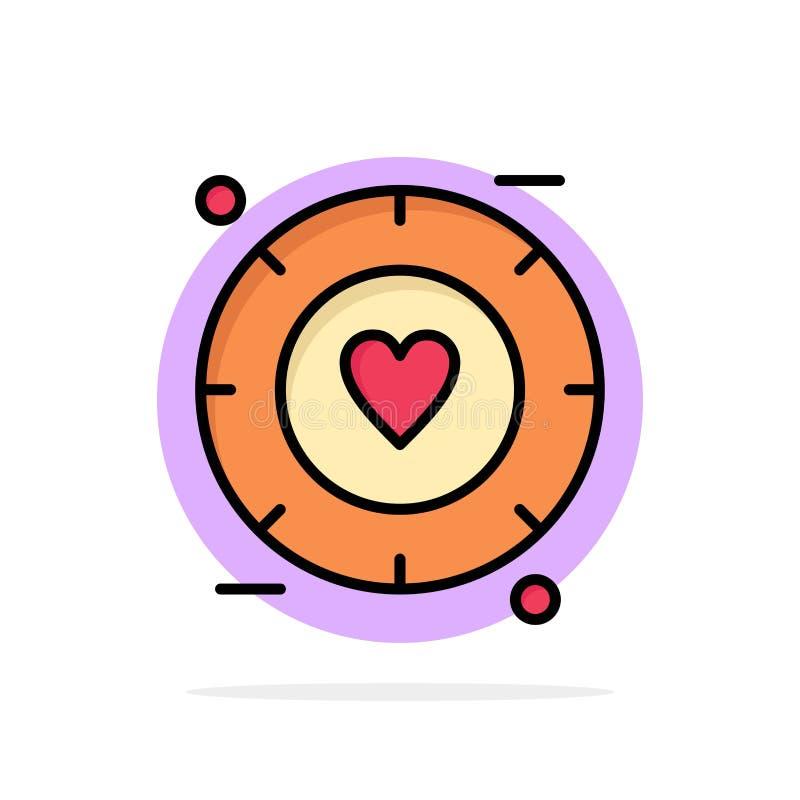 Miłość, sygnał, walentynka, Ślubnego Abstrakcjonistycznego okręgu tła koloru Płaska ikona ilustracji