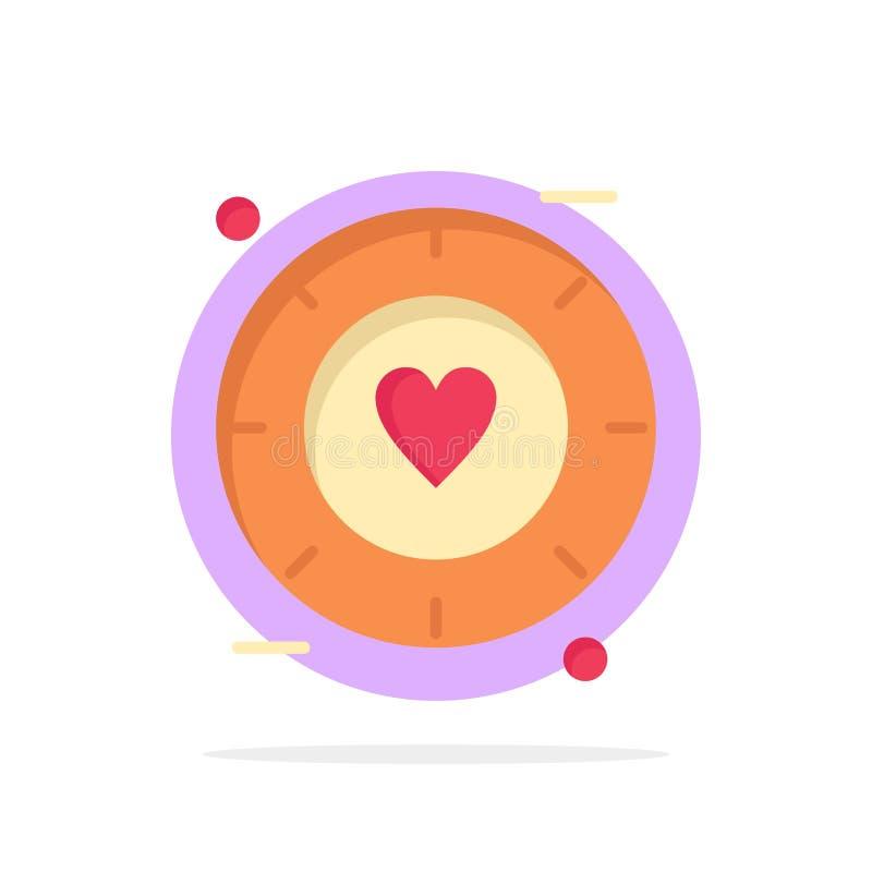 Miłość, sygnał, walentynka, Ślubnego Abstrakcjonistycznego okręgu tła koloru Płaska ikona royalty ilustracja