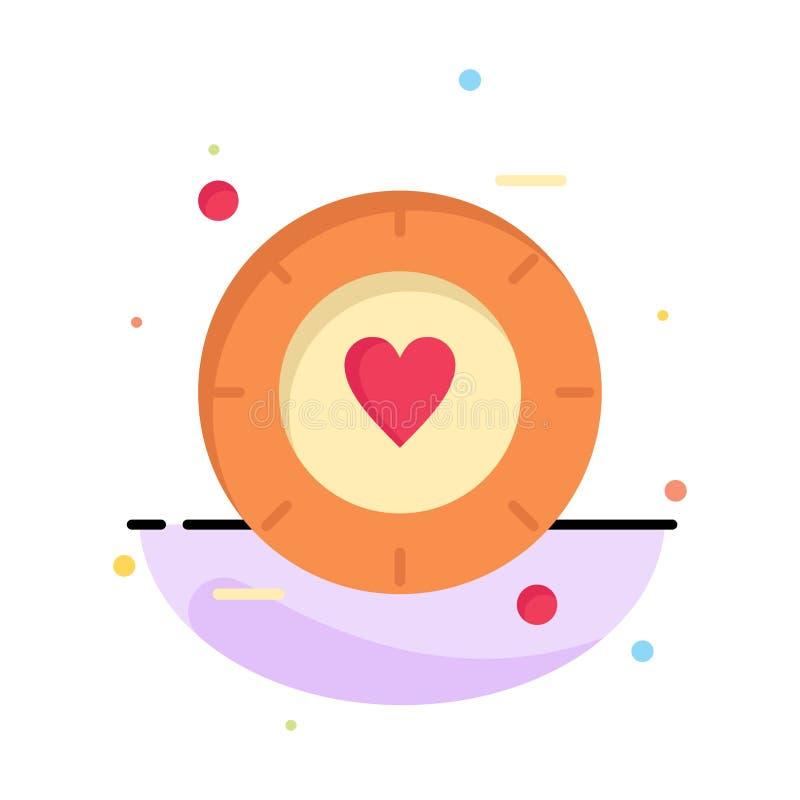 Miłość, sygnał, walentynka, Ślubny Abstrakcjonistyczny Płaski kolor ikony szablon ilustracja wektor