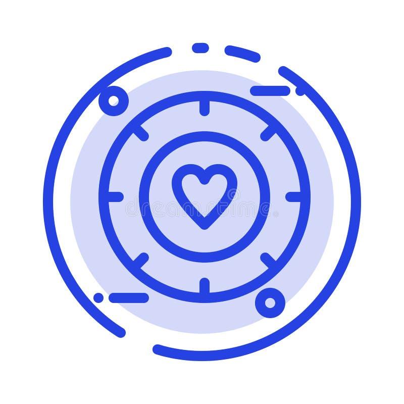 Miłość, sygnał, walentynka, Poślubia błękit Kropkującą linii linii ikonę royalty ilustracja