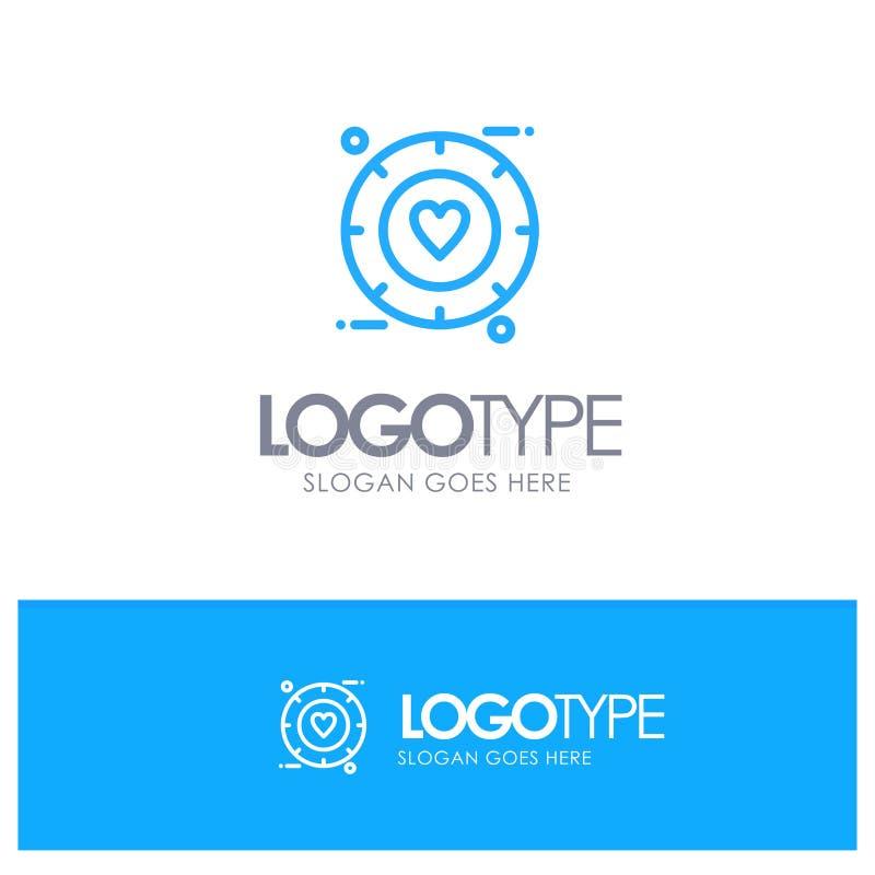 Miłość, sygnał, walentynka, Poślubia Błękitnego konturu logo miejsce dla Tagline ilustracja wektor
