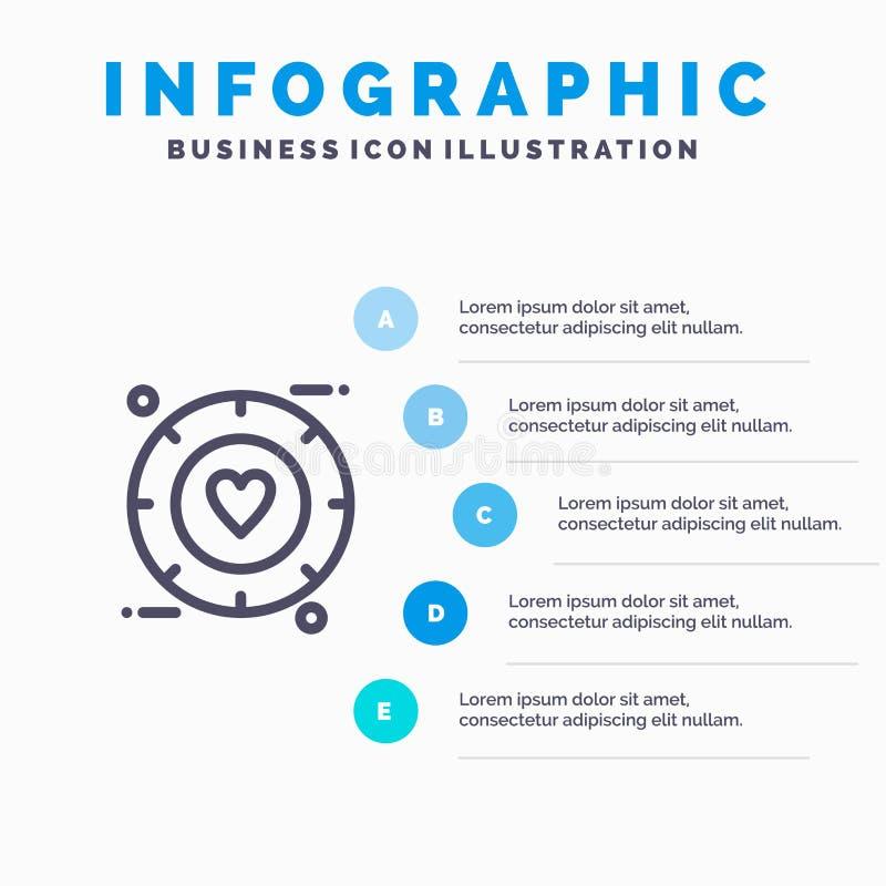 Miłość, sygnał, walentynka, Poślubia Kreskową ikonę z 5 kroków prezentacji infographics tłem ilustracji