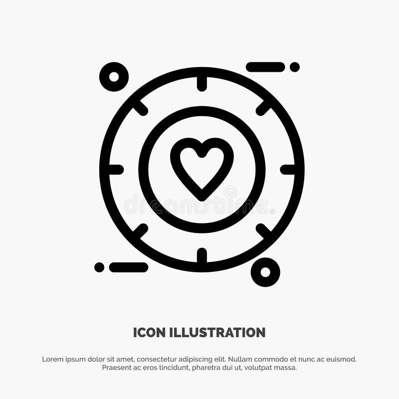 Miłość, sygnał, walentynka, Poślubia Kreskowego ikona wektor ilustracja wektor