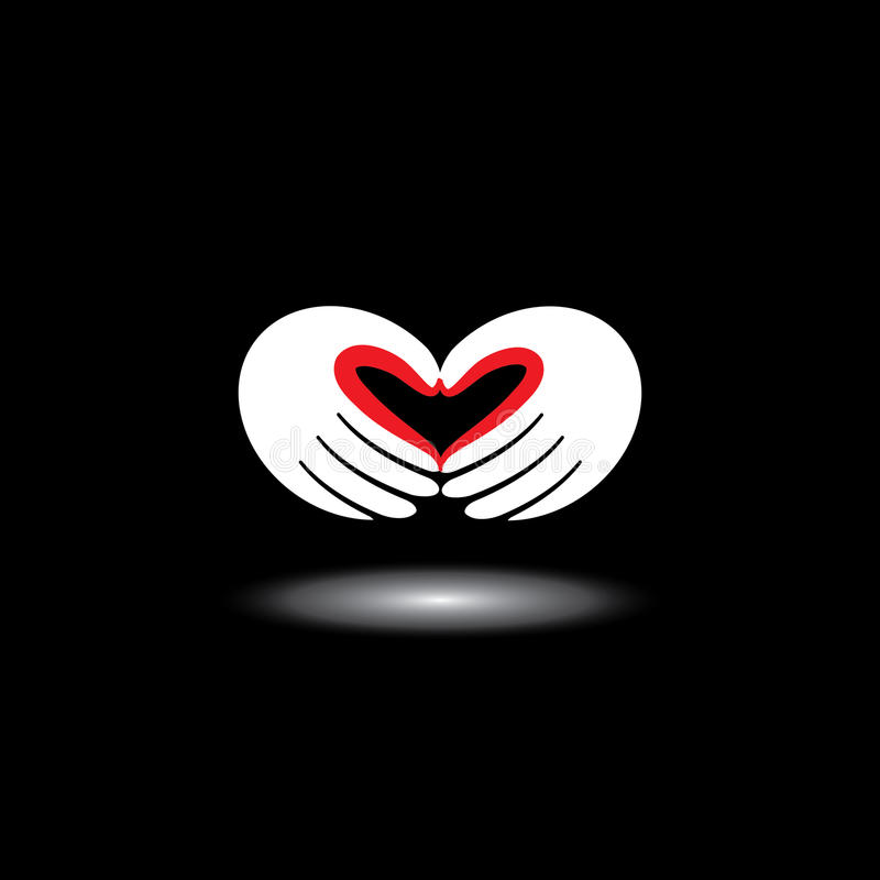 Miłość symbol lub kierowy kształt od ręk dwa ludzie - wektor royalty ilustracja