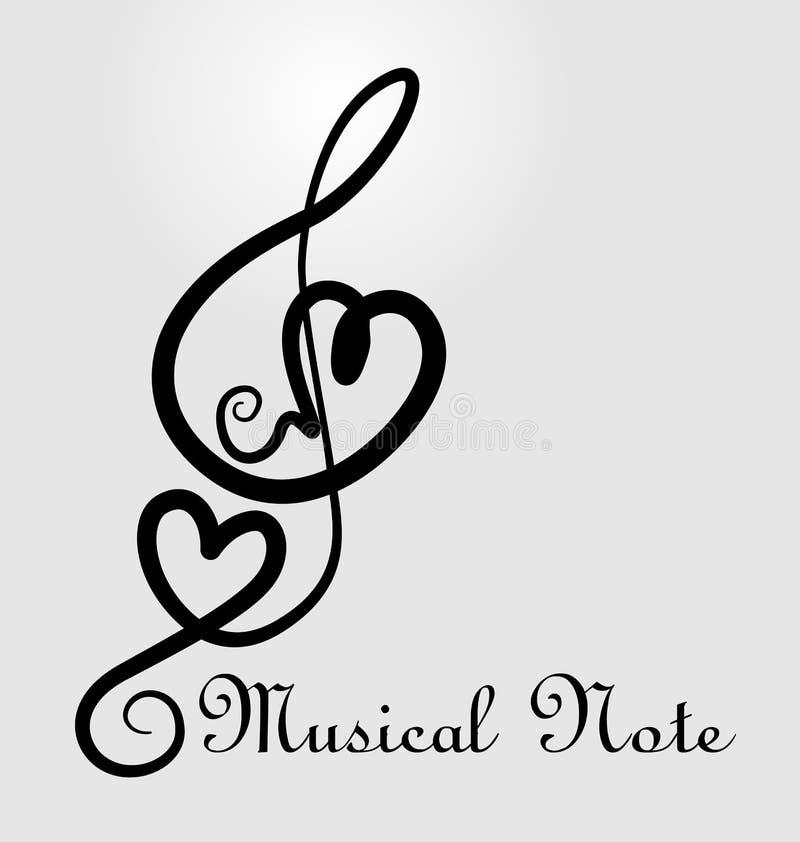 Miłość symbolu muzyka zauważa wektorową ilustrację ilustracji