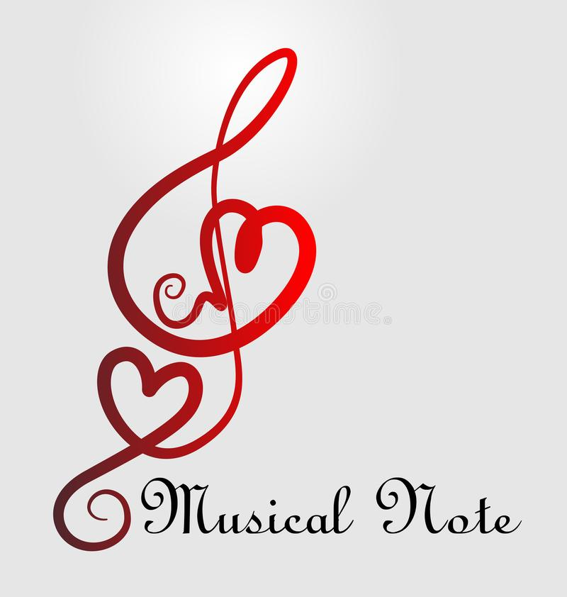 Miłość symbolu muzyka zauważa wektorową ilustrację royalty ilustracja