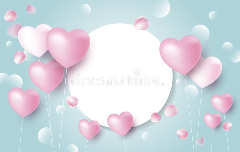 Miłość sztandaru pojęcia projekt serce szybko się zwiększać z różanymi płatkami spada na błękitnym tle royalty ilustracja