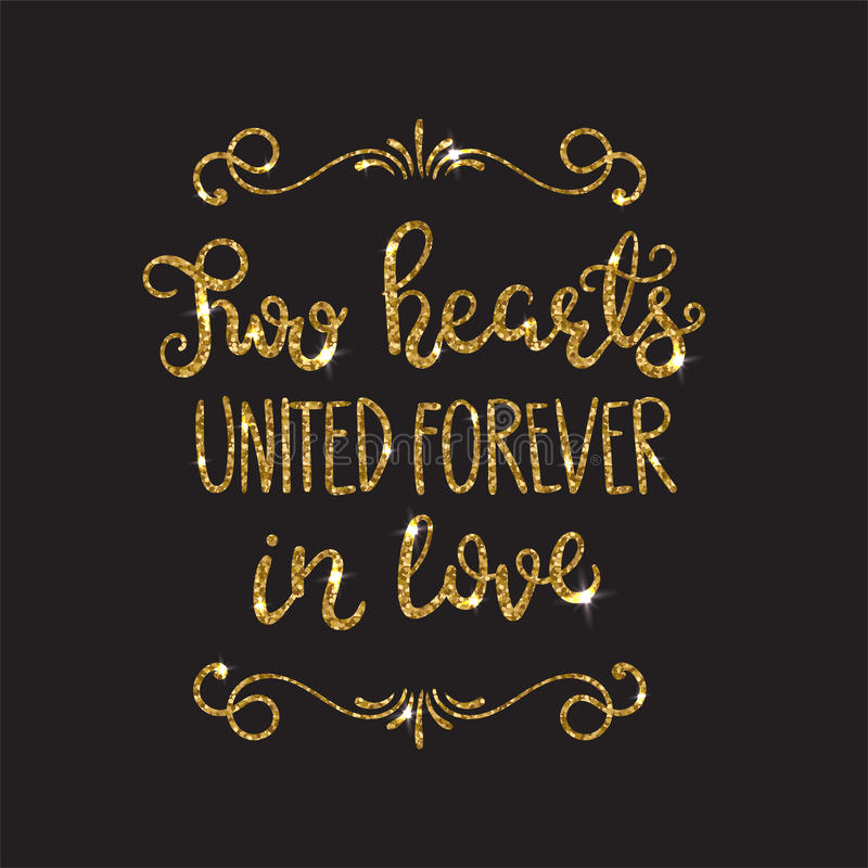 Miłość tekst Ilustracja Romantyczny literowanie z błyskotliwością Złoty błyska ilustracji