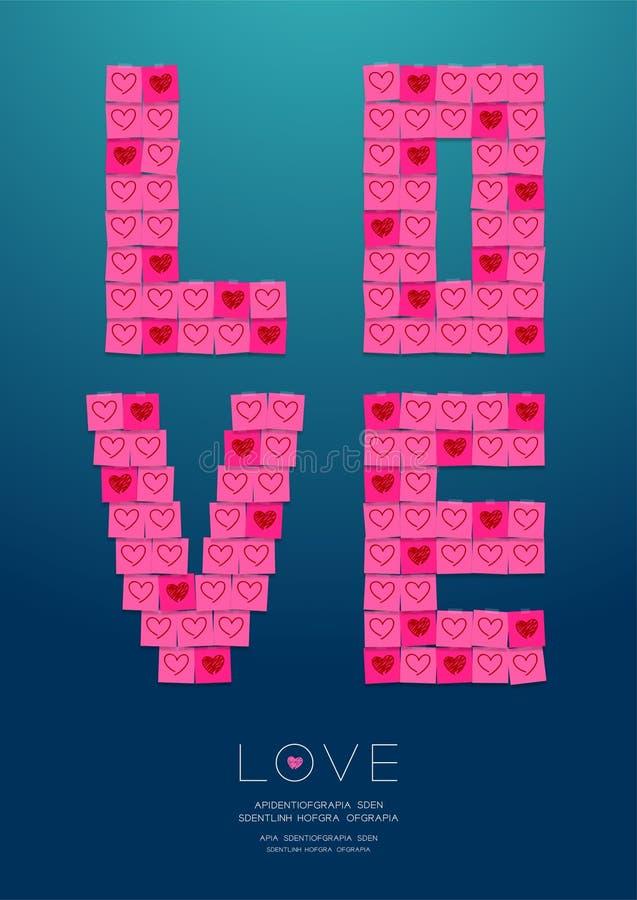 Miłość tekst papier notatką z kleistą taśmą, Pamięta valentine dnia pojęcia projekta ilustrację odizolowywającą na gradientu tle ilustracja wektor