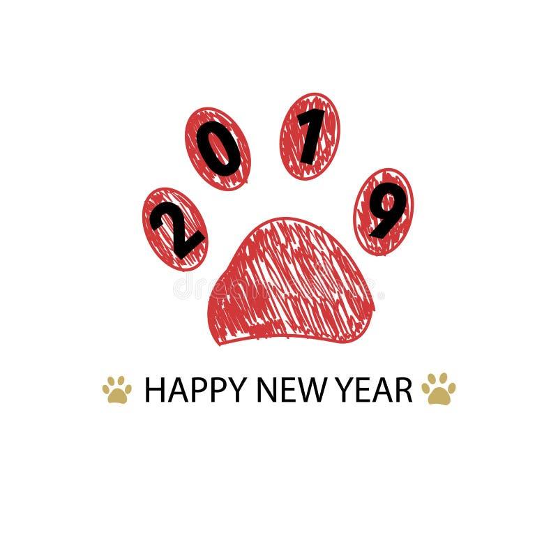 Miłość tekst z łapa drukiem i kolorową żarówką Szczęśliwego nowego roku i Wesoło bożych narodzeń kartka z pozdrowieniami ilustracji