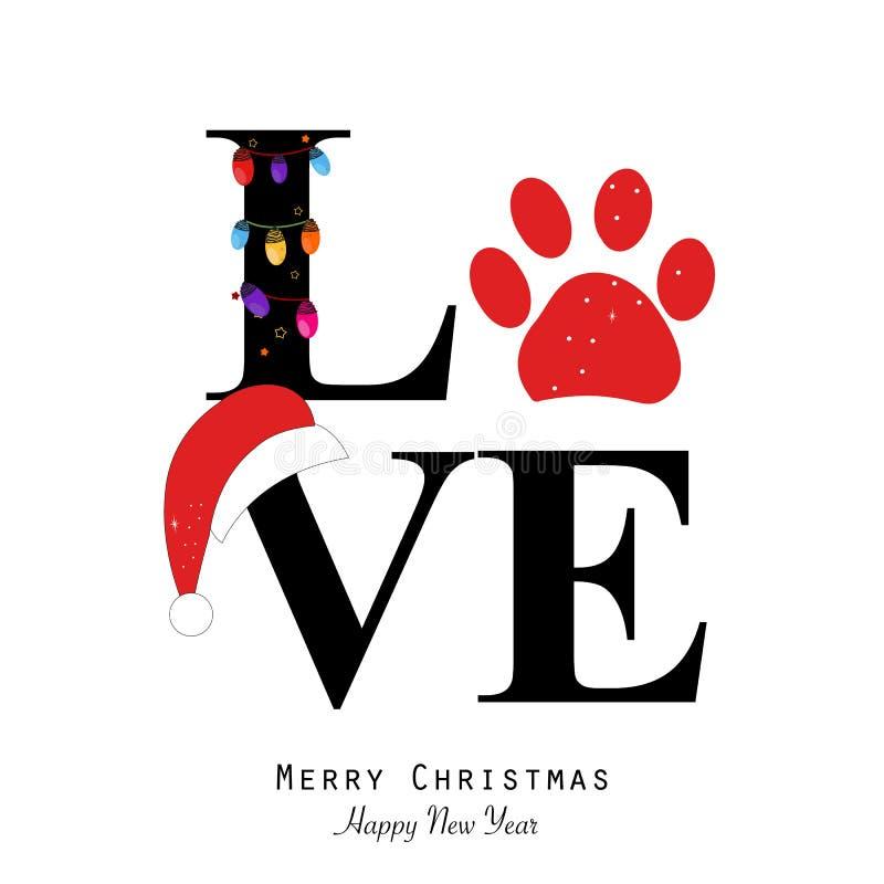 Miłość tekst z łapa drukiem i kolorową żarówką Szczęśliwego nowego roku i Wesoło bożych narodzeń kartka z pozdrowieniami ilustracja wektor