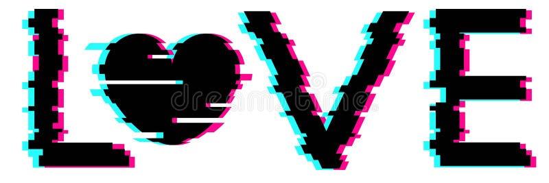 Miłość tekst z sercem w usterka stylu Wektorowa Kierowa ilustraci, Nowożytnej i Modnej sylwetka dla walentynki ` s dnia, zdjęcie stock