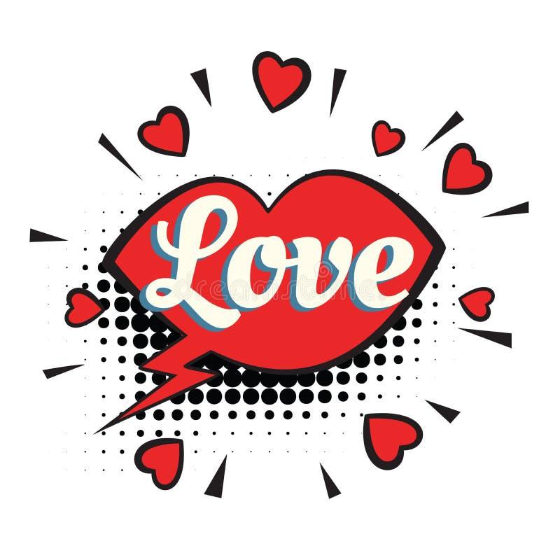 Miłość teksta kierowych warg komiczny słowo ilustracja wektor