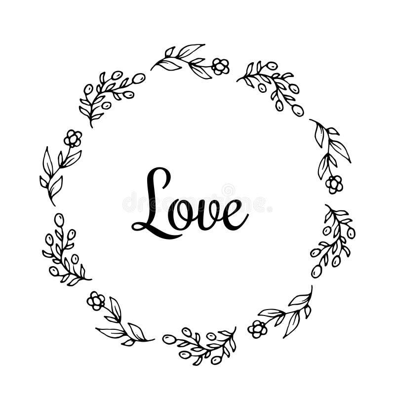 Miłość teksta kwiatu wianek, ręka rysujący bobek Kartka z pozdrowieniami projekt dla zaproszeń, wycena, blogi, plakaty Wektorowi ilustracja wektor