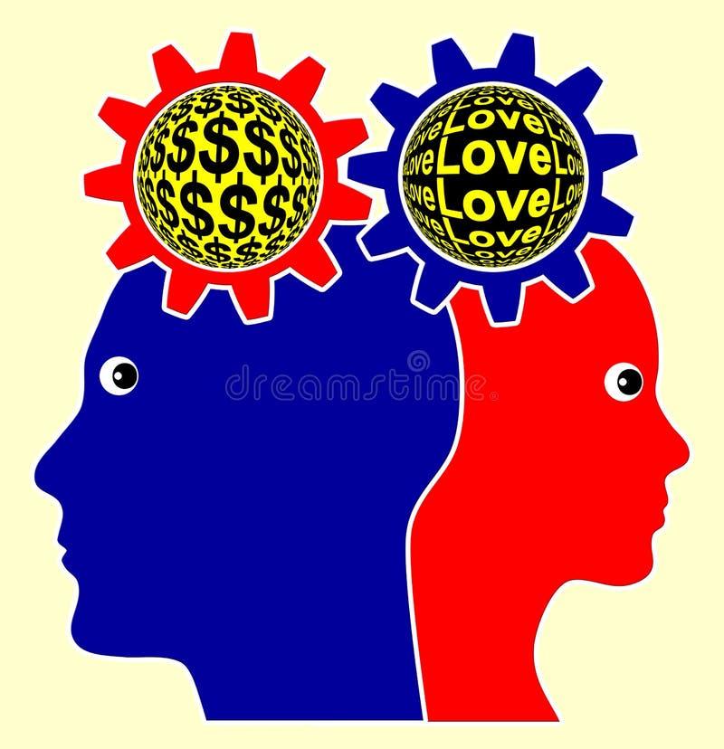 Miłość versus pieniądze ilustracja wektor