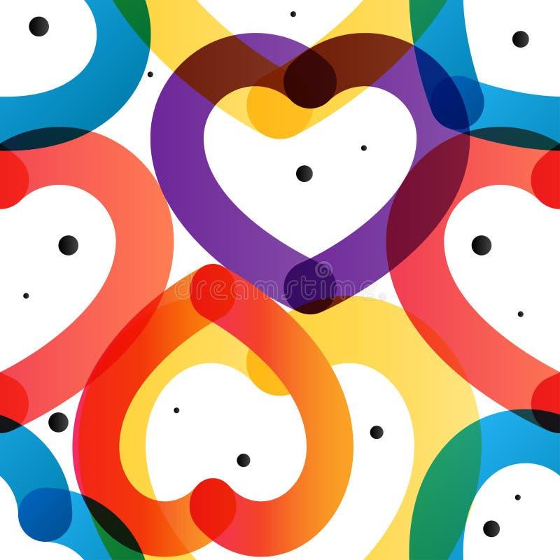 Miłość Właściwie wektorowy kolorowy modny bezszwowy wzór ilustracja wektor