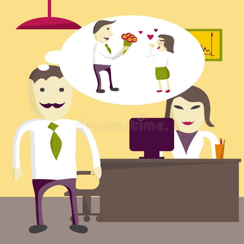 Miłość w biurze Mężczyzna kierownik chce dawać kwiaty kobieta ilustracja wektor