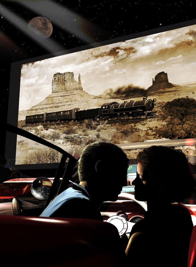Miłość w kinie drive-in royalty ilustracja