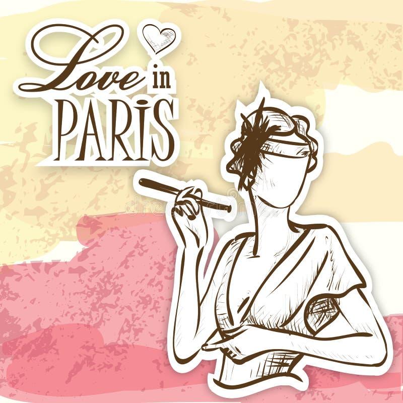 Miłość w Paris ichmościance ilustracji