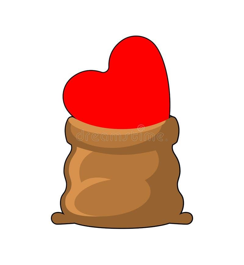 Miłość w torbie Serce w worku chowana amour wektoru ilustracja royalty ilustracja