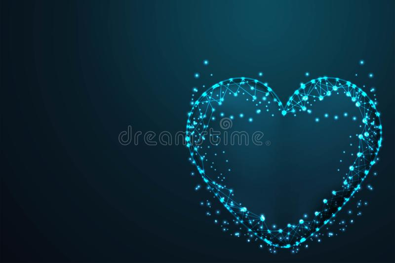 miłość, Wektorowe siatek sfery od latających gruzów Cienieje kreskowego pojęcie Abstrakt poli-, Poligonalna drut ramy siatka druc ilustracji