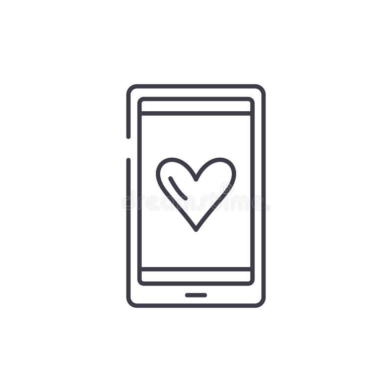 Miłość wiadomości linii ikony pojęcie Kocha wiadomości wektorową liniową ilustrację, symbol, znak royalty ilustracja