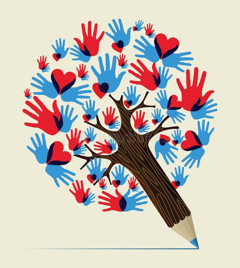 Miłość wręcza pojęcie ołówka drzewa royalty ilustracja