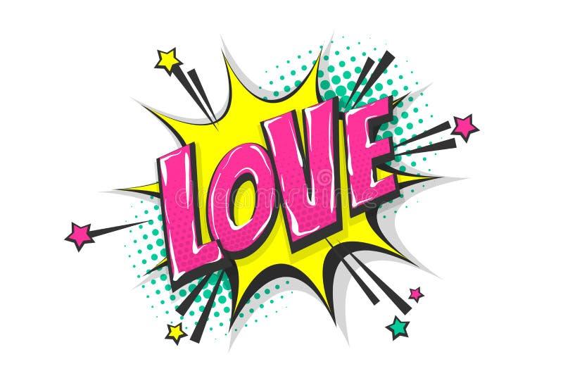 Miłość wystrzału sztuki komiksu teksta mowy bąbel royalty ilustracja
