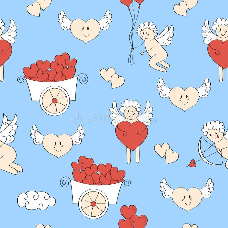 Download Miłość Wzór Śliczny Amorek I Serca Ilustracja Wektor - Ilustracja złożonej z wakacje, dzieciaki: 65226150