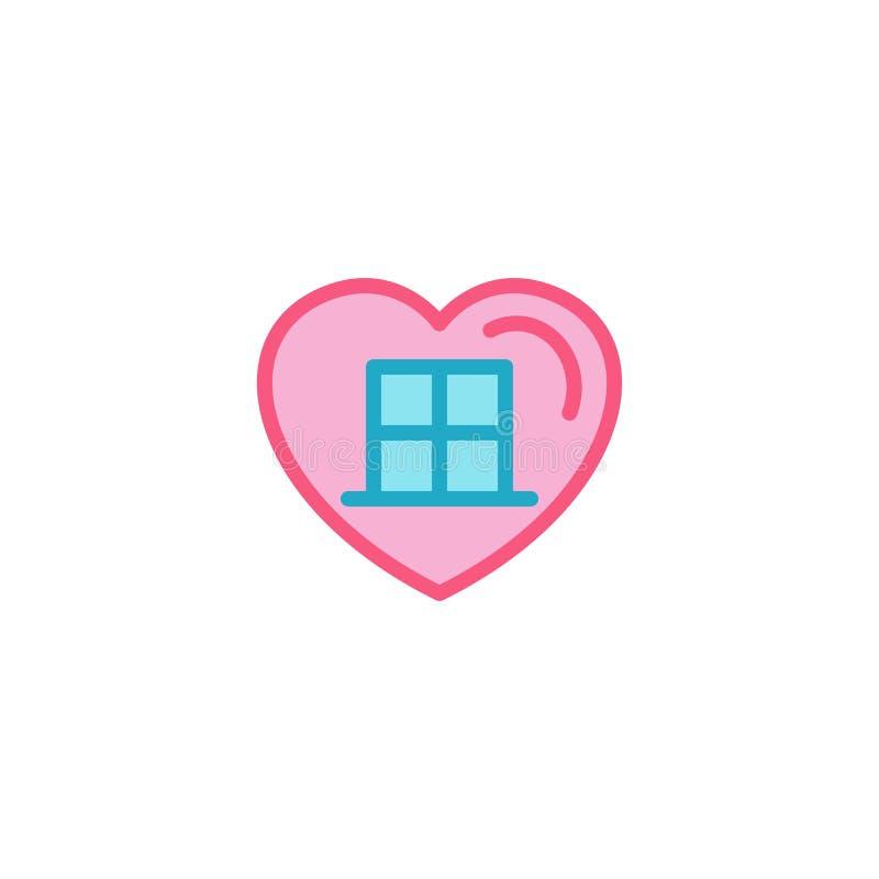 Miłość z domową nadokienną ikoną Prosty Kierowy Ilustracyjny Kreskowego stylu loga szablonu projekt royalty ilustracja