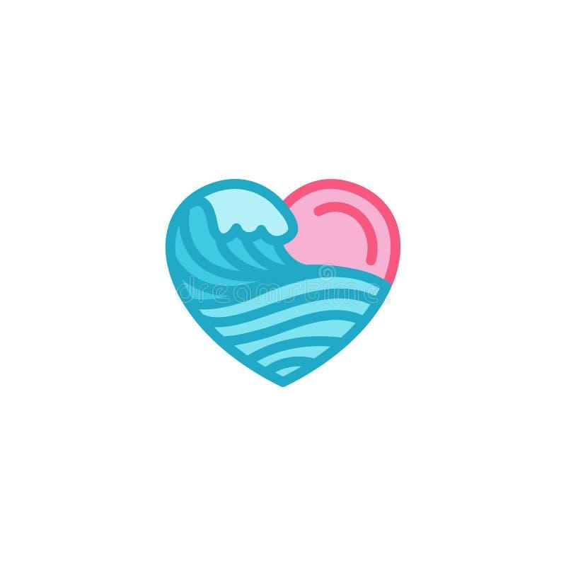 Miłość z falowym morzem, ocean, wodna ikona Prosty Kierowy Ilustracyjny Kreskowego stylu loga szablonu projekt ilustracja wektor