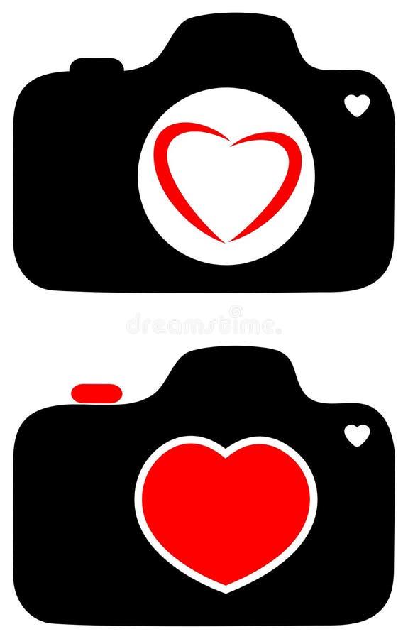 Miłość z fotografii kamery serca logem royalty ilustracja
