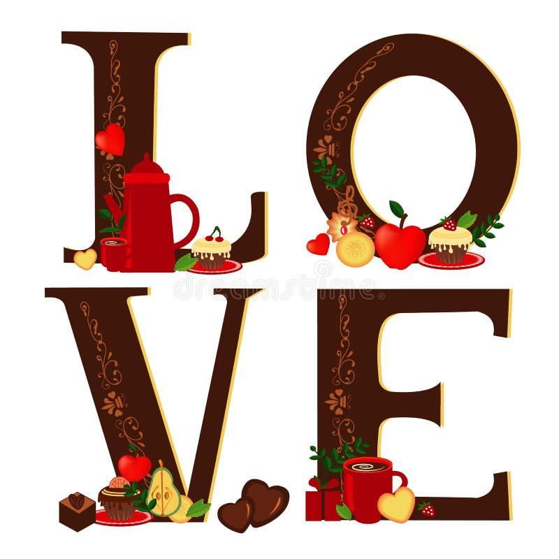 Miłość z kawą i pustynią (zmrok) royalty ilustracja