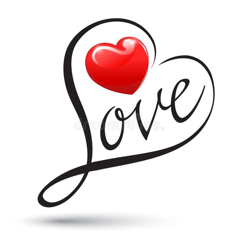Miłość z kierową typografią Miłości kaligrafia ilustracja wektor