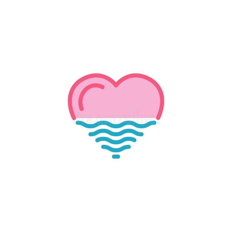 Miłość z morzem, ocean, wodna ikona Prosty Kierowy Ilustracyjny Kreskowego stylu loga szablonu projekt ilustracja wektor