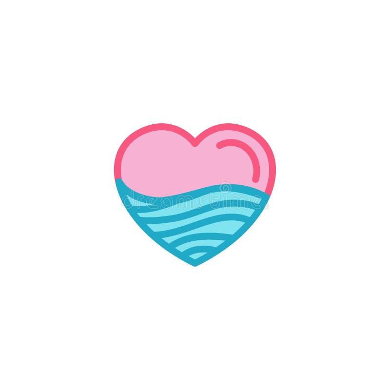 Miłość z pustynnym piaska lub fala morzem, ocean, wodna ikona Prosty Kierowy Ilustracyjny Kreskowego stylu loga szablonu projekt ilustracja wektor