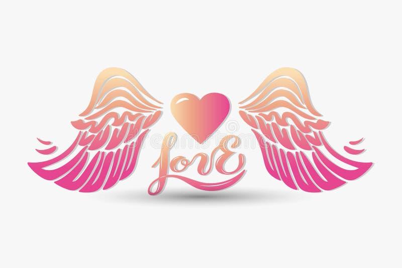 Miłość z skrzydłami na tle royalty ilustracja