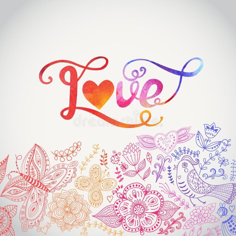 Miłości akwareli wektorowy literowanie Akwarela listów miłości te royalty ilustracja