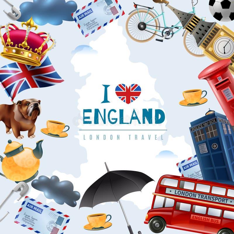Miłości Anglia podróży tło royalty ilustracja