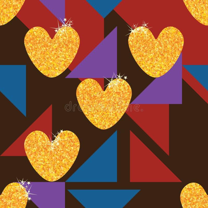 Miłości błyskotliwości stylu złocistego trójboka bezszwowy wzór royalty ilustracja